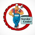 Plumber with monkey wrench in frame muscular service center worker character vector illustration Stock Photography