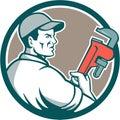 Plumber Monkey Wrench Side Circle Retro