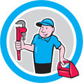 Plumber With Monkey Wrench Toolbox Cartoon