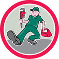 Plumber Monkey Wrench Toolbox Circle Cartoon