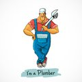 Plumber with monkey wrench Royalty Free Stock Photo