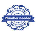 Plumber needed. We are hiring stamp Royalty Free Stock Photo