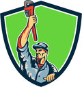 Plumber Raising Up Monkey Wrench Shield Retro Royalty Free Stock Photo
