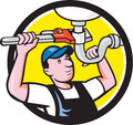 Plumber Repair Sink Pipe Wrench Circle Cartoon Royalty Free Stock Photo