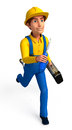 Plumber running with screw driver d rendered illustration of Royalty Free Stock Image