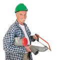 Plumber sawing pvc making sewerage isolated over white background Royalty Free Stock Image