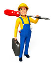 Plumber with screw driver d rendered illustration of Stock Photos