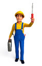 Plumber with screw driver d rendered illustration of Royalty Free Stock Image