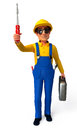 Plumber with screw driver d rendered illustration of Royalty Free Stock Photos