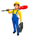 Plumber with screw driver d rendered illustration of Royalty Free Stock Photography