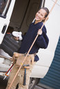 Plumber standing with van Royalty Free Stock Photo