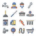 Plumber symbols icons set, cartoon style