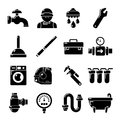 Plumber symbols icons set, simple style