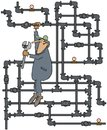 Plumber turning a valve this illustration depicts hanging from tangle of gas pipes about to turn with large wrench Stock Image