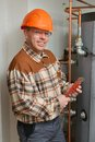 Plumber work cellar Royalty Free Stock Photography