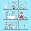 Plumber worker cartoon character. Male character fixing tubes in bathroom, holding tool box and plumber wrench. Vector