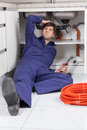 Plumber worried about your work Royalty Free Stock Photo