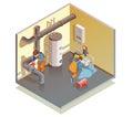 Plumbers Boiler Leak Fixing Isometric Composition Royalty Free Stock Photo