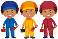 Plumbers in different color uniform