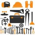 Plumbing equipment set. repair tools vector illustration.