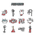 Plumbing flat concept icons
