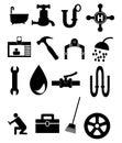 Plumbing icon set of black icons Stock Photography