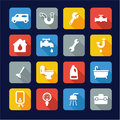 Plumbing Icons Flat Design