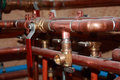 Plumbing new construction papis and valves Stock Photo