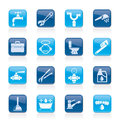 Title: Plumbing objects and tools icons