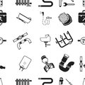 Plumbing pattern icons in black style. Big collection of plumbing vector symbol stock illustration