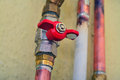 Plumbing pipes and tubes home Stock Photos