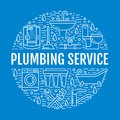 Plumbing service blue banner illustration. Vector line icon of house bathroom equipment, faucet, toilet, pipeline Royalty Free Stock Photo