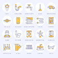 Plumbing service vector flat line icons. House bathroom equipment, faucet, toilet, pipeline, washing machine, dishwasher Royalty Free Stock Photo
