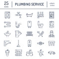 Plumbing service vector flat line icons. House bathroom equipment, faucet, toilet, pipeline, washing machine, dishwasher