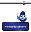Plumbing services sign comical isolated on white background Stock Photos