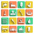 Plumbing tools icons set of plumber wrench bathroom and water leak isolated vector illustration Stock Photography