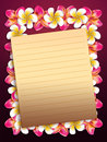 Plumeria frangipani flowers frame with yellow sheet of paper background Stock Image
