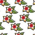 Plumeria Hawaiian symbol flower seamless pattern plant