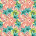 Plumeria hibiscus abstract color seamless background Royalty Free Stock Photo