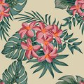 Plumeriia. Tropical palm leaves, jungle leaves seamless vector floral pattern background