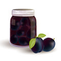 Plums and plums in a jar Stock Images