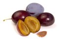 Plums some in white back Stock Images
