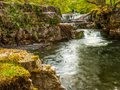 A plunge pool on the river Nedd in the Brecon Beacons Royalty Free Stock Photo