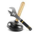 Plunger and adjustable wrench