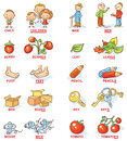 Plural of nouns in colorful cartoon pictures, can be used as a teaching aid for foreign language learning
