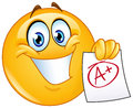 A plus grade emoticon happy showing paper with perfect Royalty Free Stock Image