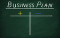 Plus and minus business plan on the blackboard Stock Photos