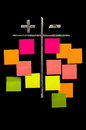 Plus and minus on the chalkboard with color sticky notes comparison of conceptional drawing Stock Photo