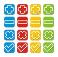 Plus minus check cross button sets suitable for user interface Royalty Free Stock Photo