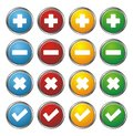 Plus minus check cross circle buttons suitable for user interface Stock Photography